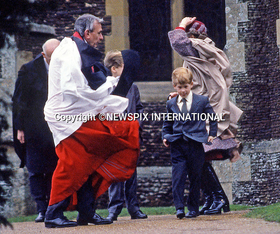 PRINCE HARRY_30 years on<br /> Prince Harry celebrates his 30th birthday on the 15th of September 2014<br /> <br /> Prince Harry almost blow over after attending christmas day church service at St Mary Magdalene Church on the Sandringham Estate, 1990<br /> Prince Harry celebrates his 21st birthday on the 15th of September 2005.<br /> Mandatory Photo Credit: &copy;Dias/NEWSPIX INTERNATIONAL<br /> <br /> Mandatory credit photo:NEWSPIX INTERNATIONAL(Failure to credit will incur a surcharge of 100% of reproduction fees)<br /> <br /> **ALL FEES PAYABLE TO: &quot;NEWSPIX INTERNATIONAL&quot;**<br /> <br /> Newspix International, 31 Chinnery Hill, Bishop's Stortford, ENGLAND CM23 3PS<br /> Tel:+441279 324672<br /> Fax: +441279656877<br /> Mobile:  07775681153<br /> e-mail: info@newspixinternational.co.uk