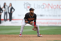 Gianfranco Wawoe (19) of the Modesto Nuts in the field during a game against the Rancho Cucamonga Quakes at LoanMart Field on August 2, 2017 in Rancho Cucamonga, California. Modesto defeated Rancho Cucamonga, 10-5. (Larry Goren/Four Seam Images)