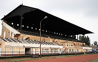 The main stand at BKV Elore SC Football Ground, Sport Utcai Stadium, Budapest, Hungary, pictured on 1st September 1996
