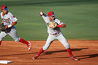 Clearwater Threshers shortstop Emmanuel Marrero (33) turns a double play during a game against the Bradenton Marauders on July 24, 2017 at LECOM Park in Bradenton, Florida.  Bradenton defeated Clearwater 6-3  (Mike Janes/Four Seam Images)