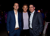 """LOS ANGELES - JULY 08: (L-R) Co-Creator/Showrunner/Executive Producer/Writer Dave Andron, Executive Producer Trevor Engelson and President of FX Entertainment Eric Schrier attend the Red Carpet Event for FX's """"Snowfall"""" Season Three Premiere Screening at USC Bovard Auditorium on July 8, 2019 in Los Angeles, California. (Photo by Frank Micelotta/PictureGroup)"""