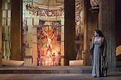 London, UK. 1 October 2016. Keri Alkema as Tosca. Dress rehearsal of the Giacomo Pucccini opera Tosca with Keri Alkema as Floria Tosca, Gwyn Hughes Jones as Mario Cavaradossi and Craig Colclough as Baron Scarpia. Donna Stirrup is the revival director of Catherine Malfitano's original ENO production of Tosca, set design by Frank Philipp Schlössman. 13 performances at the London Coliseum from 3 October to 3 December 2016.