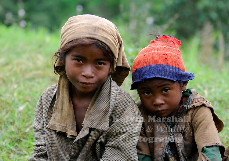 Young Malagasy children pose for the camera, Moramanga - Central Madagascar.