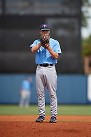 Tampa Bay Rays pitcher Stephen Yancey (50) looks in for the sign during a Florida Instructional League game against the Baltimore Orioles on October 1, 2018 at the Charlotte Sports Park in Port Charlotte, Florida.  (Mike Janes/Four Seam Images)