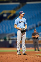 Tanner Dodson (6) gets ready to deliver a pitch during the Tampa Bay Rays Instructional League Intrasquad World Series game on October 3, 2018 at the Tropicana Field in St. Petersburg, Florida.  (Mike Janes/Four Seam Images)