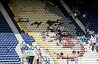 Fans look--on in bright sunshine as Preston North End players warm-up ahead of kick-off at Deepdale stadium<br /> <br /> Photographer Rich Linley/CameraSport<br /> <br /> The Premier League - Preston North End v Sheffield Wednesday - Saturday August 24th 2019 - Deepdale Stadium - Preston<br /> <br /> World Copyright © 2019 CameraSport. All rights reserved. 43 Linden Ave. Countesthorpe. Leicester. England. LE8 5PG - Tel: +44 (0) 116 277 4147 - admin@camerasport.com - www.camerasport.com