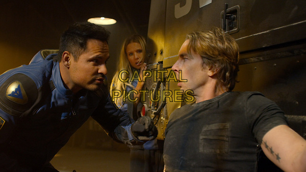 CHIPS (2017)<br /> MICHAEL PENA as Ponch, KRISTEN BELL as Karen and DAX SHEPARD as Jon <br /> *Filmstill - Editorial Use Only*<br /> FSN-K<br /> Image supplied by FilmStills.net