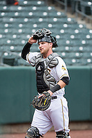 Jett Bandy (27) of the Salt Lake Bees during the game against the Tacoma Rainiers in Pacific Coast League action at Smith's Ballpark on May 7, 2015 in Salt Lake City, Utah. The Bees defeated the Rainiers 11-4 in the completion of the game that was suspended due to weather on May 6, 2015. (Stephen Smith/Four Seam Images)