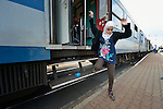 A refugee woman climbs down from a train as it arrives in the Hungarian town of Hegyeshalom. Migrants and refugees aboard the train walk from here across the border into Austria. Hundreds of thousands of refugees and migrants flowed through Hungary in 2015, on their way to western Europe from Syria, Iraq and other countries.