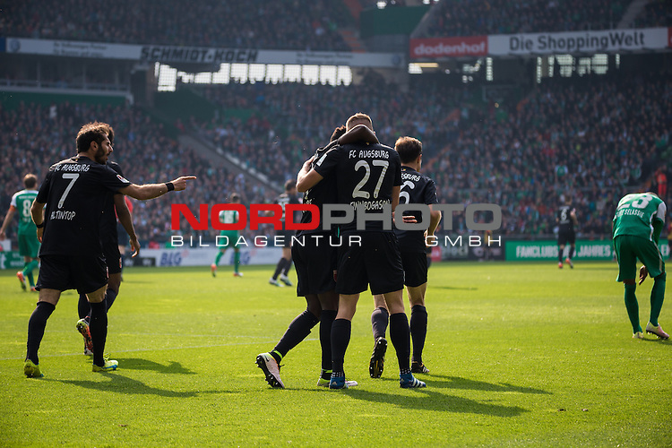 09.04.2016, Weser Stadion, Bremen, GER, 1.FBL, SV Werder Bremen vs FC Augsburg, im Bild Alfred Finnbogasin (FC. Augsburg #27) Francisco da Silva Caiuby (FC. Augsburg #30) Halil Altintop (FC. Augsburg #7) Freude Junel nach Ausgleichtreffer 1:1<br /> <br /> <br /> <br /> Foto &copy; nordphoto / Woratschka