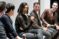 """NEW YORK - FEBRUARY 26: Robin Lord Taylor, Morena Baccarin, Ben McKenzie and Cory Michael Smith attends a fan event with the cast of """"Gotham"""" hosted by Fox and Tumblr at the Tumblr headquarters on February 26, 2018 in New York City.(Photo by Ben Hider/Fox/PictureGroup)"""