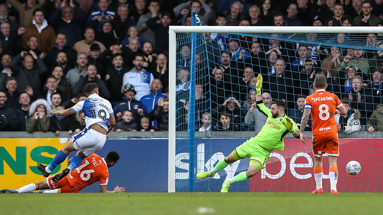 Blackpool's Mark Howard is beaten by Bristol Rovers' Jonson Clarke-Harris (19) who scored his side's third goal, completing his hat-trick in the process<br /> <br /> Photographer Andrew Kearns/CameraSport<br /> <br /> The EFL Sky Bet League Two - Bristol Rovers v Blackpool - Saturday 2nd March 2019 - Memorial Stadium - Bristol<br /> <br /> World Copyright © 2019 CameraSport. All rights reserved. 43 Linden Ave. Countesthorpe. Leicester. England. LE8 5PG - Tel: +44 (0) 116 277 4147 - admin@camerasport.com - www.camerasport.com
