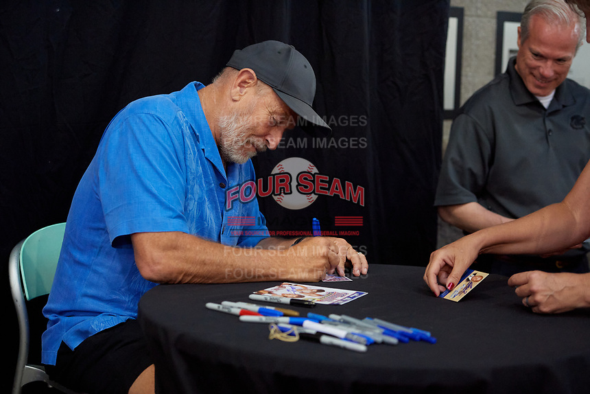 Actor Corbin Bernsen, who stared in the movie Major League, signs autographs before a Rochester Red Wings International League game against the Pawtucket Red Sox on June 28, 2019 at Frontier Field in Rochester, New York.  Pawtucket defeated Rochester 8-5.  (Mike Janes/Four Seam Images)