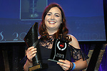 Derry Keeling, UCD Musical Society, Dublin who won the Best Actress / Sullivan Section for for her role as 'Lucille Frank in Parade' celebrates after her victory at the Association of Irish Musical Societies (AIMS) annual awards in the INEC, Killarney at the weekend. <br /> Photo Don MacMonagle<br /> <br /> repro free photo AIMS<br /> Further info: Kate Furlong PRO kate.furlong84@gmail.com