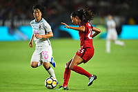 Carson, CA - Thursday August 03, 2017: Nana Ichise, Christen Press during a 2017 Tournament of Nations match between the women's national teams of the United States (USA) and Japan (JPN) at the StubHub Center.