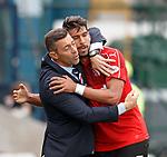 Eduardo Herrera celebrates his goal for Rangers with Pedro Caixinha