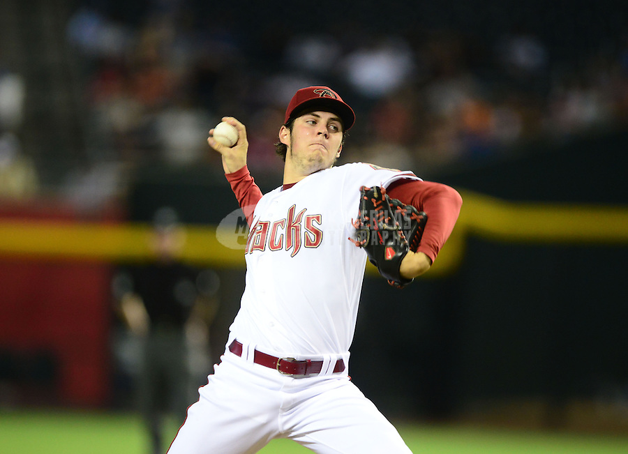 Jul. 3, 2012; Phoenix, AZ, USA: Arizona Diamondbacks pitcher Trevor Bauer throws in the first inning against the San Diego Padres at Chase Field. Mandatory Credit: Mark J. Rebilas-