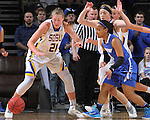 SIOUX FALLS, SD - MARCH 5:  Clarissa Ober #21 of South Dakota State and Kamila Carter #4 of Fort Wayne go for the ball in the 2016 Summit League Tournament. (Photo by Dick Carlson/Inertia)