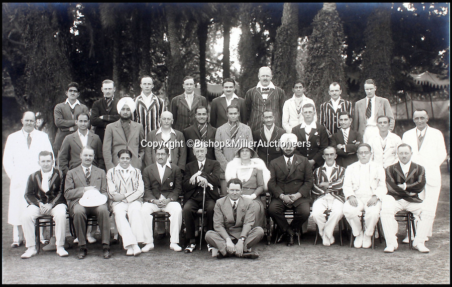 BNPS.co.uk (01202 558833)<br /> Pic: Bishop&MillerAuctioneers/BNPS<br /> <br /> The Delhi District XI and the Viceroy's XI.<br /> <br /> A fascinating album of photographs showing the first England cricket tour of India and the last for controversial 'Bodyline' captain Douglas Jardine has been discovered.<br /> <br /> The rare black and white images show the England star leading the national side at the new cricket ground in Delhi that the colonial British had built in 1933 - the same year as the brutal Ashes series.<br /> <br /> Jardine is featured in many photos as is the Viceroy of India. The album is being sold by auctioneers Bishop and Miller of Suffolk.