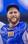 4 April 2015: Toronto Blue Jays catcher Russell Martin returns to the dugout after warming up his starting pitcher, Daniel Norris, prior to an exhibition game against the Cincinnati Reds at Olympic Stadium in Montreal, Quebec, Canada. The Blue Jays defeated the Reds 9-1 in the second of two MLB weekend exhibition games. The series marked the first time since 2004 that the Reds played at Olympic Stadium, during the last season of the Montreal Expos. Mandatory Credit: Ed Wolfstein Photo *** RAW (NEF) Image File Available ***
