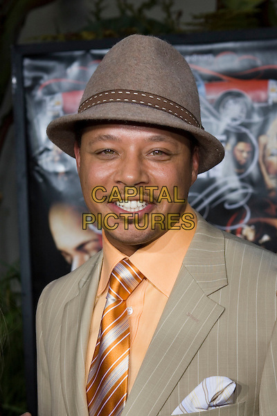 "TERRENCE HOWARD.At the ""Hustle & Flow"" Los Angeles Film Premiere,.held at the Arclight Cinerama Dome, .Hollywood, California, USA, 20th July 2005..portrait headshot hat orange shirt tie terence terrance.Ref: ADM.www.capitalpictures.com.sales@capitalpictures.com.©Zach Lipp/AdMedia/Capital Pictures."