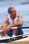 Rowing, 60 year-old Masters rower, Alfredo Czerner, San Diego Rowing Club, Masters National Championships, Augusta, GA, 1994, Represented Argentina in the 1952 Olympics in the coxed four. Note as of 2011 Alfredo is competing as usual at the age of 76 ..