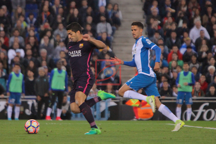 League Santander 2016/2017. Game: 35.<br /> RCD Espanyol vs FC Barcelona: 0-3.<br /> Luis Suarez vs Diego Reyes.