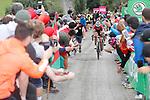 Alberto Contador (ESP) Trek-Segafredo and Miguel Angel Lopez (COL) Astana attack on the brutal climb of Los Machucos during Stage 17 of the 2017 La Vuelta, running 180.5km from Villadiego to Los Machucos. Monumento Vaca Pasiega, Spain. 6th September 2017.<br /> Picture: Unipublic/&copy;photogomezsport   Cyclefile<br /> <br /> <br /> All photos usage must carry mandatory copyright credit (&copy; Cyclefile   Unipublic/&copy;photogomezsport)