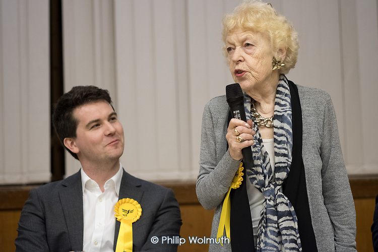 Flick Rea (R) Liberal Democrats speaking Hustings with Conservative, Labour, Liberal Democrats and Green local election candidates for 2 of the 18 council wards, Camden, London