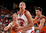 MADISON, WI - NOVEMBER 8: Forward Brian Butch #32 of the Wisconsin Badgers handles the ball against the Carroll College Pioneers at the Kohl Center on November 8, 2006 in Madison, Wisconsin. The Badgers beat the Pioneers 81-61. (Photo by David Stluka)