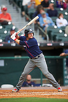 Lehigh Valley IronPigs catcher Andrew Knapp (15) at bat during a game against the Buffalo Bisons on July 9, 2016 at Coca-Cola Field in Buffalo, New York.  Lehigh Valley defeated Buffalo 9-1 in a rain shortened game.  (Mike Janes/Four Seam Images)