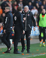 Blackpool's Manager Terry McPhillips remonstrates with Fourth Official Joe Simpson<br /> <br /> Photographer Kevin Barnes/CameraSport<br /> <br /> The EFL Sky Bet League One - Blackpool v Southend United - Saturday 9th March 2019 - Bloomfield Road - Blackpool<br /> <br /> World Copyright © 2019 CameraSport. All rights reserved. 43 Linden Ave. Countesthorpe. Leicester. England. LE8 5PG - Tel: +44 (0) 116 277 4147 - admin@camerasport.com - www.camerasport.com