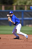 Indiana State Sycamores shortstop Tyler Friis (3) turns a double play during a game against the Vanderbilt Commodores on February 21, 2015 at Charlotte Sports Park in Port Charlotte, Florida.  Indiana State defeated Vanderbilt 8-1.  (Mike Janes/Four Seam Images)