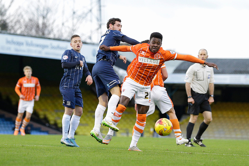 Blackpool's Bright Osavi-Samuel vies for possession with Southend United's David Worrall<br /> <br /> Photographer Craig Mercer/CameraSport<br /> <br /> Football - The Football League Sky Bet League One - Southend United v Blackpool - Saturday 21st November 2015 - Roots Hall - Southend<br /> <br /> &copy; CameraSport - 43 Linden Ave. Countesthorpe. Leicester. England. LE8 5PG - Tel: +44 (0) 116 277 4147 - admin@camerasport.com - www.camerasport.com