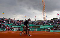 Rain delay on Court 1..Tennis - French Open - Day 4 - Wed 26 May 2010 - Roland Garros - Paris - France..© FREY - AMN Images, 1st Floor, Barry House, 20-22 Worple Road, London. SW19 4DH - Tel: +44 (0) 208 947 0117 - contact@advantagemedianet.com - www.photoshelter.com/c/amnimages