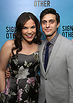 """Lindsay Mendez and Gideon Glick attends the Broadway Opening Night performance after party for """"Significant Other"""" at the Redeye Grill on March 2, 2017 in New York City."""