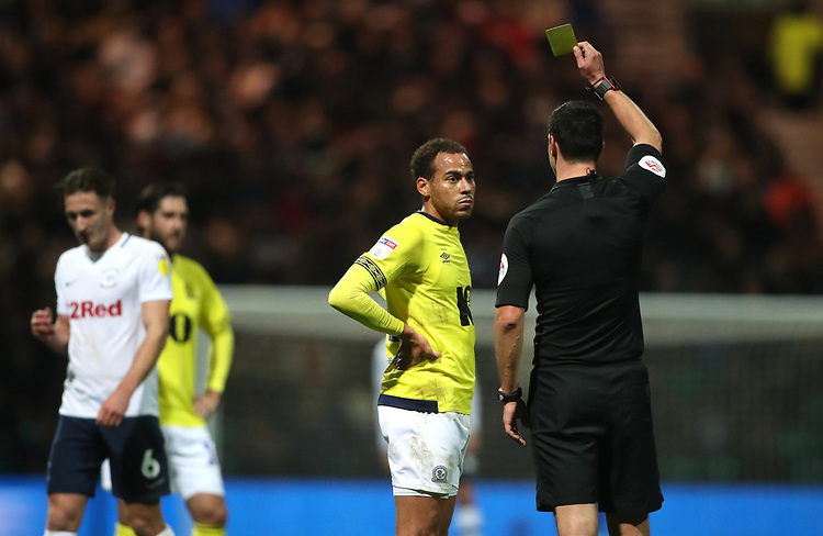 Blackburn Rovers' Elliott Bennett receives a yellow card<br /> <br /> Photographer Rachel Holborn/CameraSport<br /> <br /> The EFL Sky Bet Championship - Preston North End v Blackburn Rovers - Saturday 24th November 2018 - Deepdale Stadium - Preston<br /> <br /> World Copyright © 2018 CameraSport. All rights reserved. 43 Linden Ave. Countesthorpe. Leicester. England. LE8 5PG - Tel: +44 (0) 116 277 4147 - admin@camerasport.com - www.camerasport.com