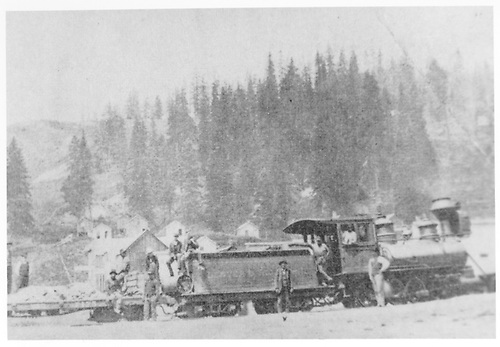 Side view of engine #61 &quot;La Jara&quot; with work train.  David Keefe, engineer.  16 miles NE of Leadville.<br /> D&amp;RG  Robinson, CO  Taken by Keefe, Harold E. - summer 1881