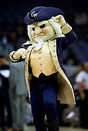 Washington, DC - MAR 7, 2018: George Washington Colonials mascot performs during game between G.W. and Fordham during first round action of the Atlantic 10 Basketball Tournament at the Capital One Arena in Washington, DC. (Photo by Phil Peters/Media Images International)