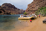 Rafting, no model release, on the Colorado River below Hoover Dam on border of Arizona, AZ, Nevada, NV, tourism, vacation, sports, Beach, sky, water, mountain, landscape, wild ducks, wildlife, image nv435-18490.Photo copyright: Lee Foster, www.fostertravel.com, lee@fostertravel.com, 510-549-2202