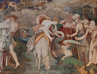 Detail of woman symbolising eternal youth on a donkey with a dragon, from Lost Youth, fresco by Rosso Fiorentino, 1535-37, in the Galerie Francois I, begun 1528, the first great gallery in France and the origination of the Renaissance style in France, Chateau de Fontainebleau, France. The Palace of Fontainebleau is one of the largest French royal palaces and was begun in the early 16th century for Francois I. It was listed as a UNESCO World Heritage Site in 1981. Picture by Manuel Cohen