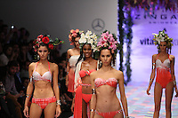 Models present lingeries, creation by Zingara During The Mercedes Benz Fashion Week Mexico Spring/Summer 2015, in Mexico City, 10.01.2014. VIEWpress / Miguel Angel Pantaleon
