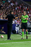 Atletico de Madrid's coach Diego Pablo Simeone have words with fourth referee during La Liga match. August 25, 2018. (ALTERPHOTOS/A. Perez Meca)