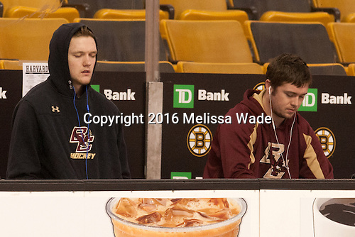 Thatcher Demko (BC - 30), Teddy Doherty (BC - 4) - The Boston College Eagles defeated the Harvard University Crimson 3-2 in the opening round of the Beanpot on Monday, February 1, 2016, at TD Garden in Boston, Massachusetts.