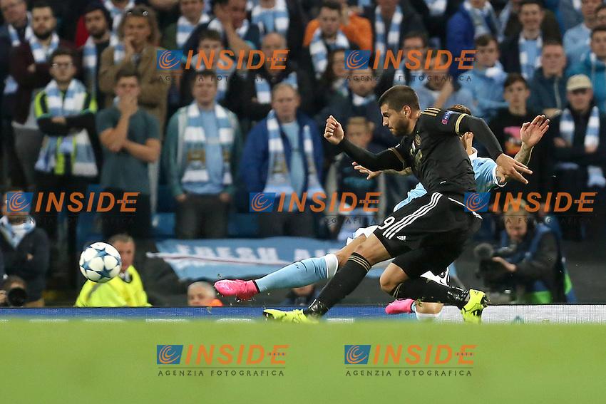 Juventus Alvaro Morata scores his sides second goal - Manchester City vs Juventus Turin - UEFA Champions League - Etihad Stadium - Manchester - 15/09/2015 Pic Philip Oldham/SportImage/Insidefoto <br /> Gol Alvaro Morata Juventus