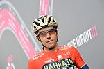 Domenico Pozzovivo (ITA) Bahrain-Merida at sign on before the start of Stage 15 of the 2018 Giro d'Italia, running 156km from Tolmezzo to Sappada, Italy. 20th May 2018.<br /> Picture: LaPresse/Gian Mattia D'Alberto | Cyclefile<br /> <br /> <br /> All photos usage must carry mandatory copyright credit (&copy; Cyclefile | LaPresse/Gian Mattia D'Alberto)