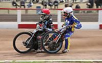Heat 7: Zach Wajtknecht (red) and Connor Coles (white)<br /> <br /> Photographer Rob Newell/CameraSport<br /> <br /> National League Speedway - Lakeside Hammers v Eastbourne Eagles - Lee Richardson Memorial Trophy, First Leg - Friday 14th April 2017 - The Arena Essex Raceway - Thurrock, Essex<br /> &copy; CameraSport - 43 Linden Ave. Countesthorpe. Leicester. England. LE8 5PG - Tel: +44 (0) 116 277 4147 - admin@camerasport.com - www.camerasport.com