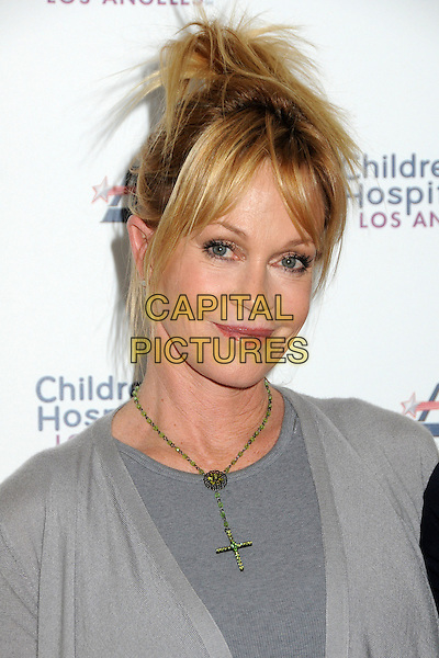MELANIE GRIFFITH .Children's Hospital Los Angeles 5K Walk held at Griffith Park, Los Angeles, California, USA..April 30th, 2011.headshot portrait green crucifix necklace grey gray  .CAP/ADM/BP.©Byron Purvis/AdMedia/Capital Pictures.