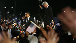 Former U.S President Bill Clinton, right  and Presidential candidate Barack Obama, left, during an election rally   in Kissimmee,  Fla Wednesday Oct 29 2008.  Americans will go to the polls on Nov 4, at a time of great Financial crisis, war in Iraq and Afghanistan, to elect a  new President. A vote, that will affect not only America, but the whole world. Photo by Eyal Warshavsky .
