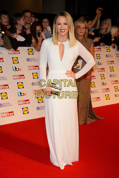 Kimberley Walsh<br /> The Daily Mirror's Pride of Britain Awards arrivals at the Grosvenor House Hotel, London, England.<br /> 7th October 2013<br /> full length dress white sheer cut out away red lipstick hand on hip black silver clutch bag<br /> CAP/CJ<br /> &copy;Chris Joseph/Capital Pictures